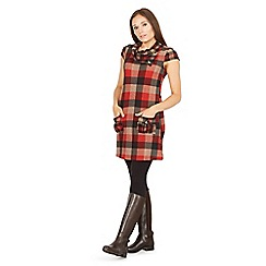 Izabel London - Red cowl neck check print tunic dress