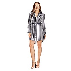 Izabel London - Navy long sleeve pin stripe shirt dress