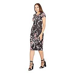 Izabel London - Black floral bodycon midi dress