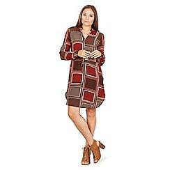 Izabel London - Red square print zip detail shirt dress