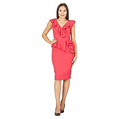Feverfish - Cerise frill peplum dress