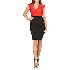 Feverfish - Red lace contrast asymmetric skirt dress