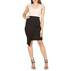 Feverfish - Peach lace contrast asymmetric skirt dress