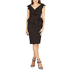 Feverfish - Black frill peplum dress