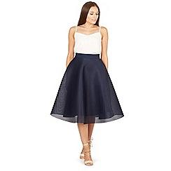 Izabel London - Navy midi length bonded mesh skirt