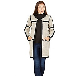 Izabel London - Beige oversized cardigan with contrast border