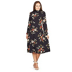 Izabel London - Navy long sleeves floral print midi dress