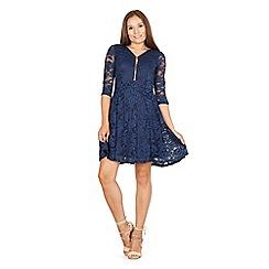 Izabel London - Navy floral lace skater dress