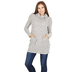 Izabel London - Grey snood jumper with pocket trim detail