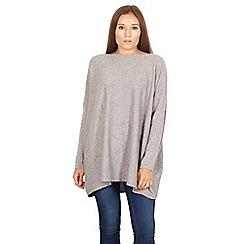 Izabel London - Light grey boat neck oversized knit jumper