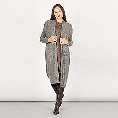 Apricot - Grey fuzzy longline cardigan
