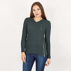Apricot - Green  ribbed two zips jumper