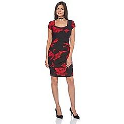 Roman Originals - Red rose print pleat dress