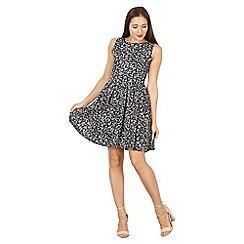 Tenki - Blue sleeveless leaf print pleated skirt dress