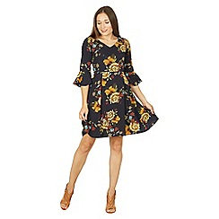 Tenki - Blue 3/4 sleeve floral midi dress