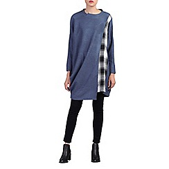 Jolie Moi - Blue asymmetric oversized check insert jumper