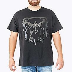 MVP Collections - Big and tall black tonal camo screen print graphic t-shirt
