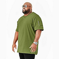MVP Collections - Big and tall green zipper sleeve t-shirt