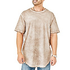 MVP Collections - Big and tall beige curved hem t-shirt