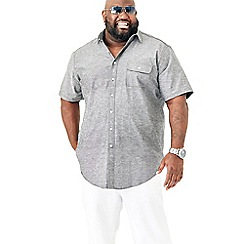 MVP Collections - Big and tall black chambray short sleeve buttoned shirt
