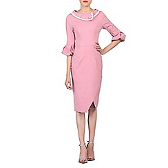 Jolie Moi - Light pink trim collar bell sleeved dress