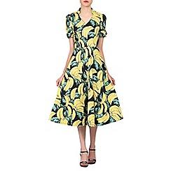 Jolie Moi - Multicoloured banana print short sleeved tea dress