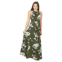 Jolie Moi - Dark green floral print halter neck maxi dress