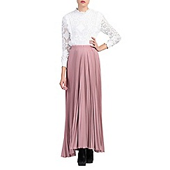 Jolie Moi - Light pink pleated crepe maxi skirt