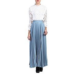 Jolie Moi - Blue pleated crepe maxi skirt