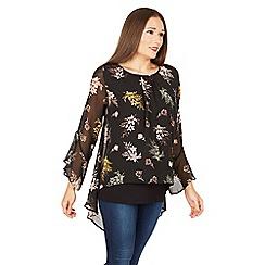Apricot - Black floral print blouse