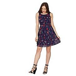 Izabel London - Navy floral fit & flare dress