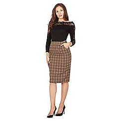 Lindy Bop - Brown martie check pencil skirt