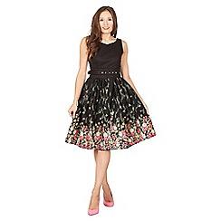 Lindy Bop - Black delta floral swing dress