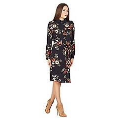 Izabel London - Navy floral print shirt dress