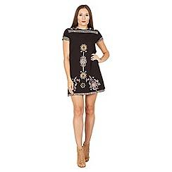 Izabel London - Black embroidered shift dress
