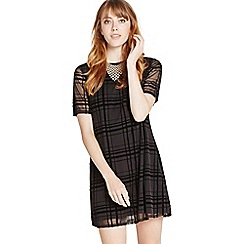 Apricot - Black checked mesh swing dress