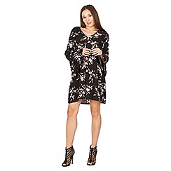 Apricot - Black blossom print shift dress