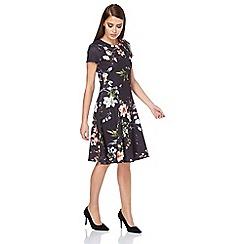 Roman Originals - Black floral pleated skater dress