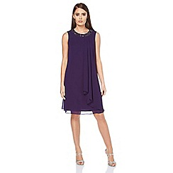 Roman Originals - Purple embellished neck dress