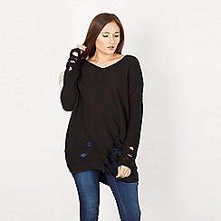 Izabel London - Black ribbed knitted jumper