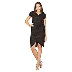 Tenki - Black short sleeves v-neck ruched waist dress