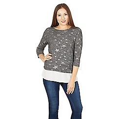 Tenki - Dark grey full sleeves star print top