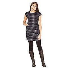 Izabel London - Navy check pu trim detail dress