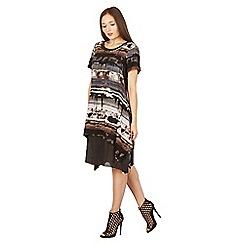 Izabel London - Black asymmetric print dress