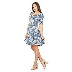 Izabel London - Blue half sleeves floral print skater dress