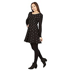 Izabel London - Black polka dot knit dress