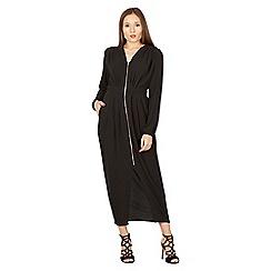 Izabel London - Black front zip plain maxi dress