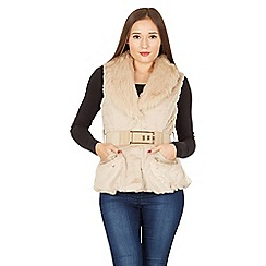 Izabel London - Beige faux fur belted gilet