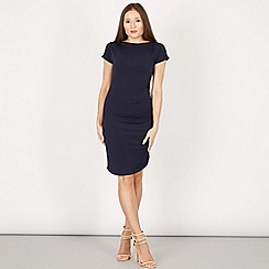Blue Vanilla - Navy gathered pleated sleeves shift dress