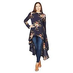 Izabel London - Navy floral peplum top